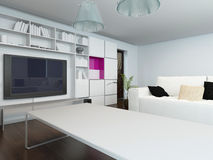 Modern living room with built in cabinets Stock Image