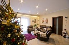 Modern living room at Christmas season. Stock Photo
