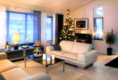 Modern living room with Christmas tree dedoration Stock Images