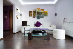 Modern living room with Cliffs of Moher canvas royalty free stock photos