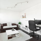 Modern living room with computer desk. And the screen, sofa and table with white carpet on dark brown wooden floor Stock Image