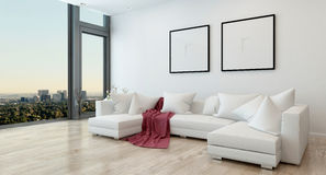 Modern Living Room in Condo with City View Stock Photo