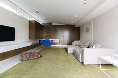 Modern living room with custom walnut cabinetry. And large green wool rug Stock Photography