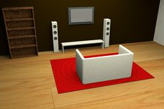 Modern living room 3d royalty free stock photos