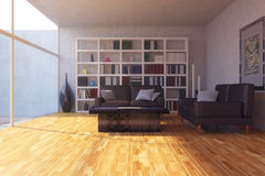 Modern Living Room. 3 D render of modern living room Royalty Free Stock Photos