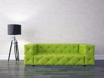 Modern living room. 3D render modern interior with green sofa Stock Photo