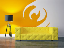 Modern living room. 3D render modern interior and sofa Royalty Free Stock Image