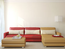 Modern living-room. 3d rendering. Stock Photos