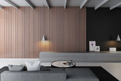Modern living room  3d rendering. Modern living roomwith wooden wall Stock Photos