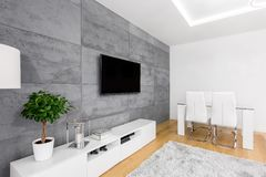 Living room with concrete wall royalty free stock photography