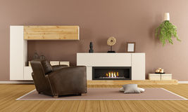 Modern living room with decorative fireplace Stock Image