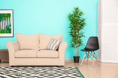 Modern living room design with sofa. Modern living room design with comfortable sofa Stock Images