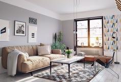 Modern living room. Design. 3d rendering royalty free illustration