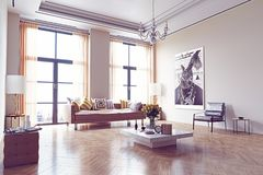 Modern living room design. Royalty Free Stock Photos