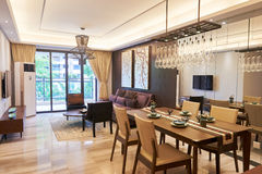 Modern living room and dining area Royalty Free Stock Photos