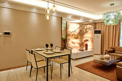 Modern living room and dining area Royalty Free Stock Images
