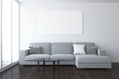 Modern living room with empty banner Stock Photography