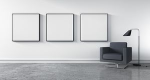 Modern living room with empty picture frames stock illustration
