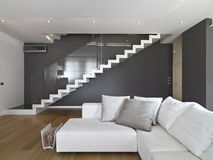 Modern living room. Fabric sofa in the modern living room with staircase and wooden floor Stock Photos