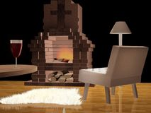 Modern living room with a fireplace Royalty Free Stock Photo
