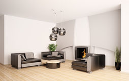Modern living room with fireplace interior 3d Stock Photos