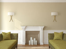 Modern living-room with fireplace. Royalty Free Stock Photography