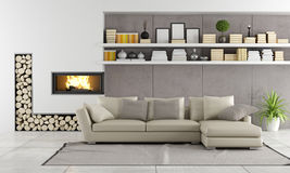 Modern living room with fireplace. Sofa and shelves with books and objects - rendering Stock Image