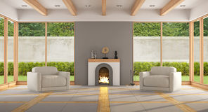 Modern living room with fireplace Stock Photos