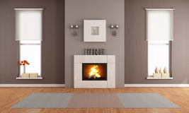 Modern living room with fireplace. And two vertical windows - rendering Stock Images