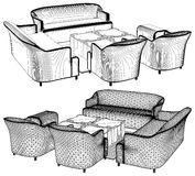 Modern Living Room Furniture Vector 11 Stock Image