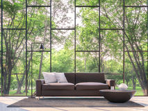 Modern living room with garden view 3d rendering Image. There are large window overlooking the surrounding garden and nature Royalty Free Stock Photography