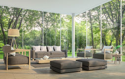 Modern living room with garden view 3d rendering Image. There are large window overlooking the surrounding garden and nature and finished with dark brown Royalty Free Stock Photos