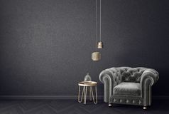 Modern living room with grey armchair and lamp. scandinavian interior design furniture. 3d render illustration vector illustration