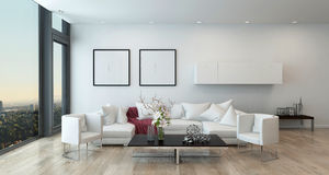 Modern Living Room in High Rise Condominium Royalty Free Stock Photos