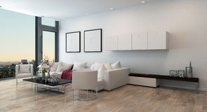 Modern Living Room in High Rise Condominium. Architectural Interior of Open Concept Apartment in High Rise Condo - Low Coffee Table and White Sectional Sofa in Royalty Free Stock Photos