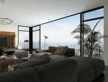 Modern Living Room in Highrise Condo Apartment. Interior of Modern Living Room with Large Windows in Highrise Condominium Apartment Royalty Free Stock Photo