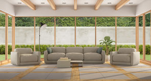 Modern Living room of a holiday villa Royalty Free Stock Images