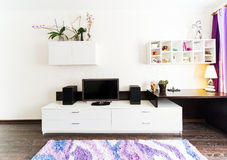 A modern living room . A modern living room inside a new flat Royalty Free Stock Images