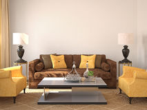 Modern living-room interior. 3d render vector illustration