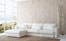 Modern living-room interior. Modern living-room interior with white couch near empty beige wall. Photo behind the window was made by me royalty free illustration