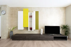 Modern living-room interior. Detail of modern living-room - wall with TV Stock Photography