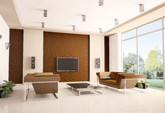 Modern living room interior 3d Stock Images