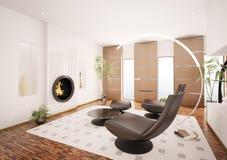 Modern living room interior 3d render. Modern interior of living room with fireplace 3d render Royalty Free Stock Photography