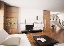Modern living room interior 3d render Royalty Free Stock Photos