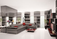 Modern living room interior 3d render Stock Images