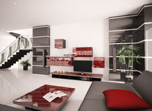 Modern living room interior 3d render Royalty Free Stock Images