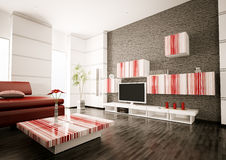 Modern living room interior 3d render Stock Photography