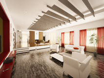 Modern living room interior 3d render Stock Photos