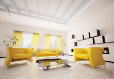 Modern living room interior 3d render Royalty Free Stock Photography