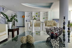 Interior house. Modern luminous white living room stock image